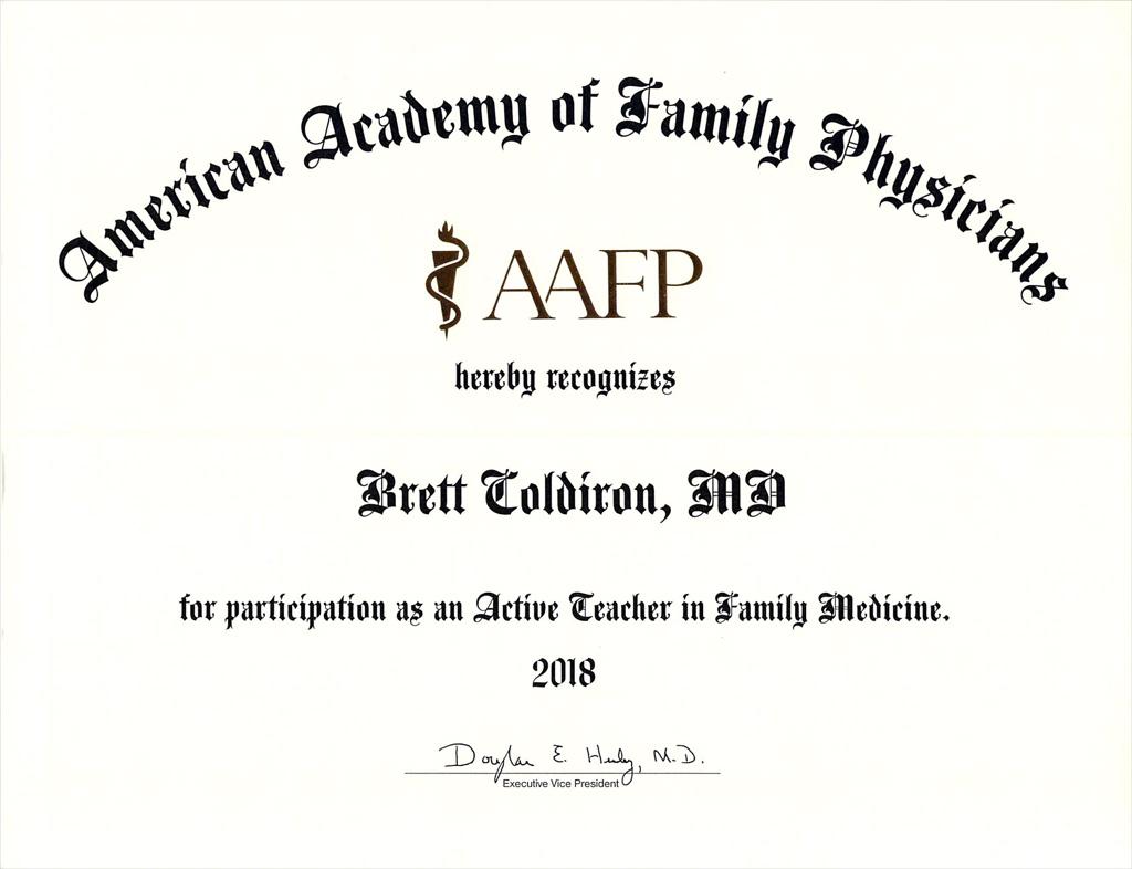AAFP Certificate